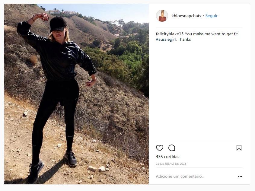 Famosos, como a socialite Khloe Kardashian, são adeptos do uso de sweat suits visando o emagrecimento (Foto: Reprodução Instagram)