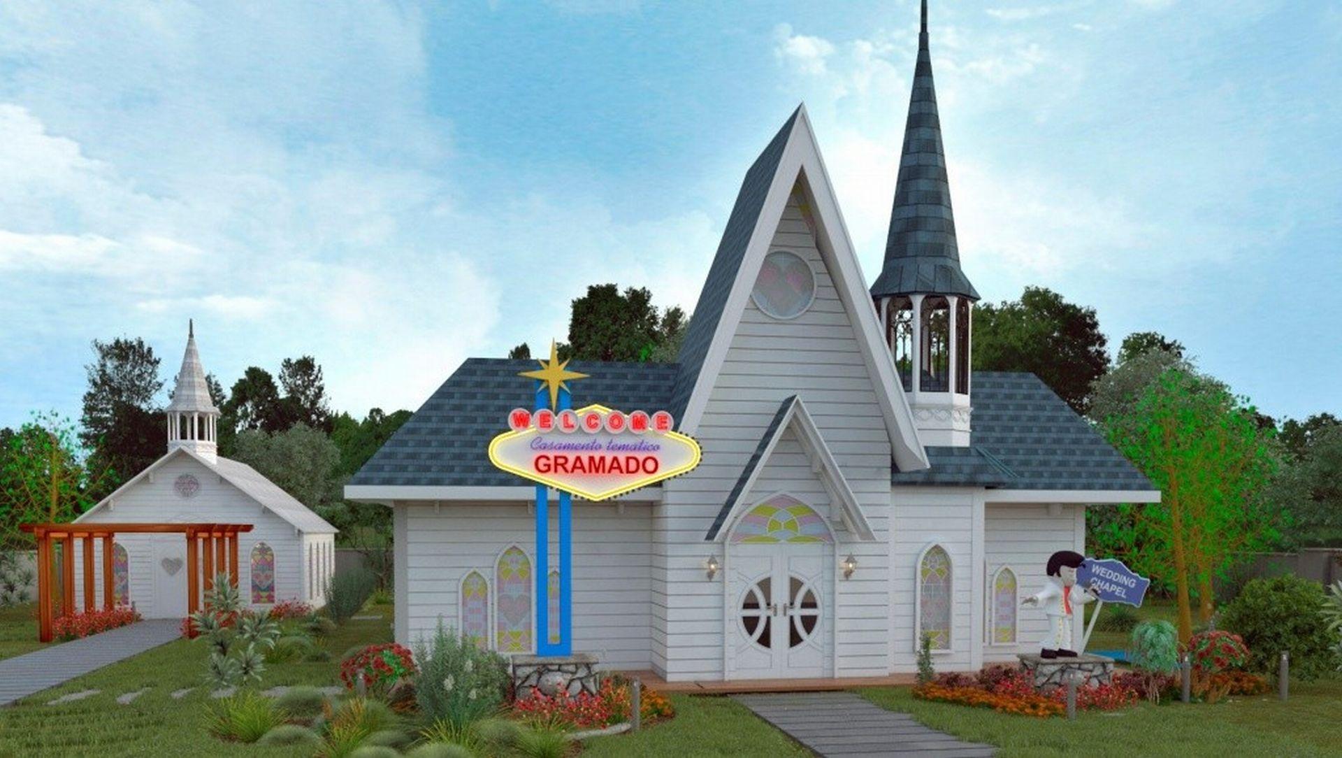 A capela tem até um letreiro inspirado no famoso sinal de Las Vegas. Foto: divulgação.