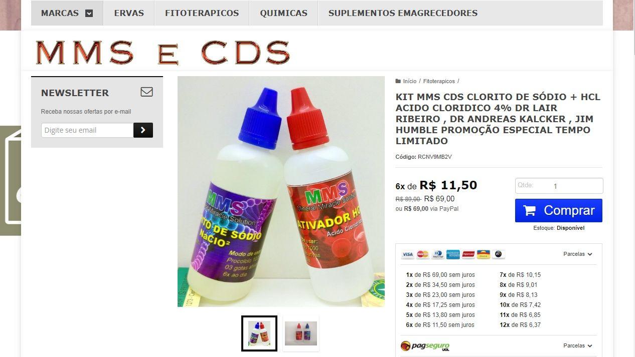 Anúncios espalhados pela internet oferecem o produto que é proibido pela Anvisa por ser considerado corrosivo. Foto: Reprodução.