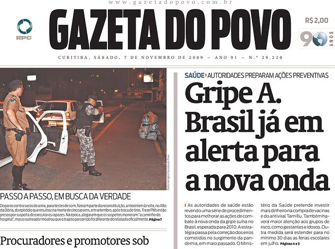 Epidemia de H1N1 teve início em 2009 e assustou a população brasileira. Reprodução da capa da Gazeta do Povo.