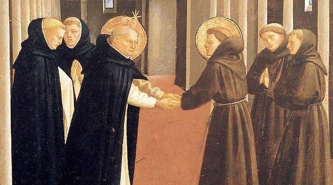 Detalhe de uma obra de Fra Angelico descrevendo o encontro de São Domingos e São Francisco. Reparem na estrela sobre a cabeça do fundador dos dominicanos.