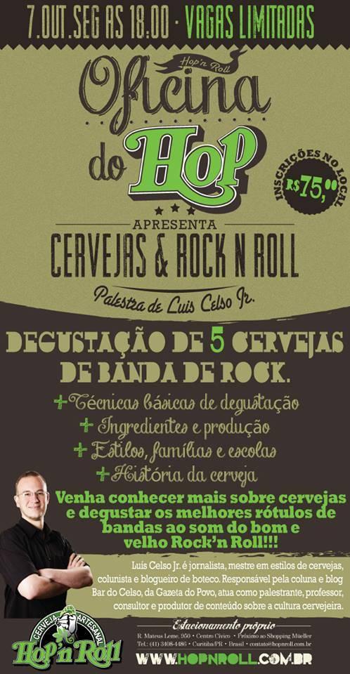 Oficina do HOP promove palestra Cervejas e Rock'n Roll no dia 7 de outubro