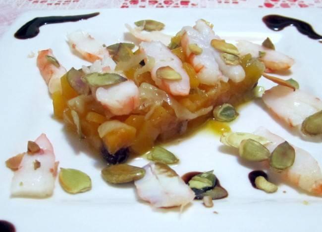 Tartare de abóbora e camarão