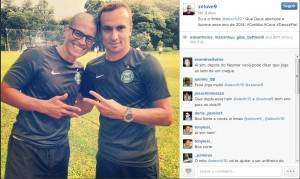 Zé Love tieta Alex na pré-temporada do Coritiba: rei das redes sociais. (Reprodução: Instagram)