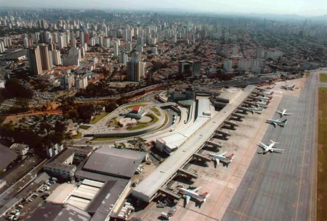 Imagem aérea do aeroporto de Congonhas, em São Paulo