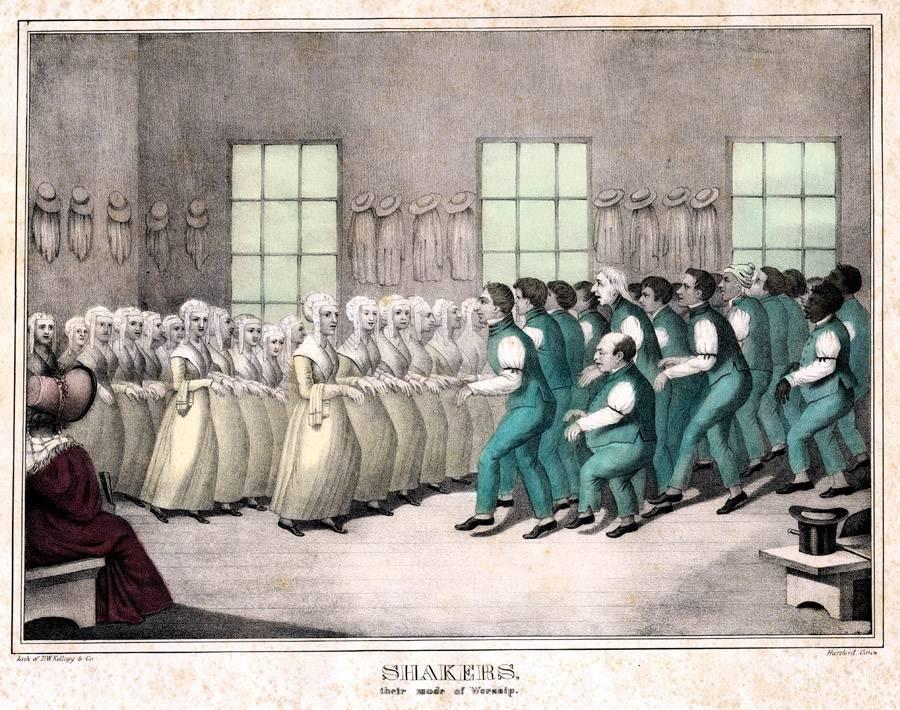 Pintura representando um momento do culto dos Shaker Quacres