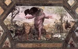"""""""A criação dos animais"""", afresco de Rafael no Palácio Apostólico, Vaticano."""