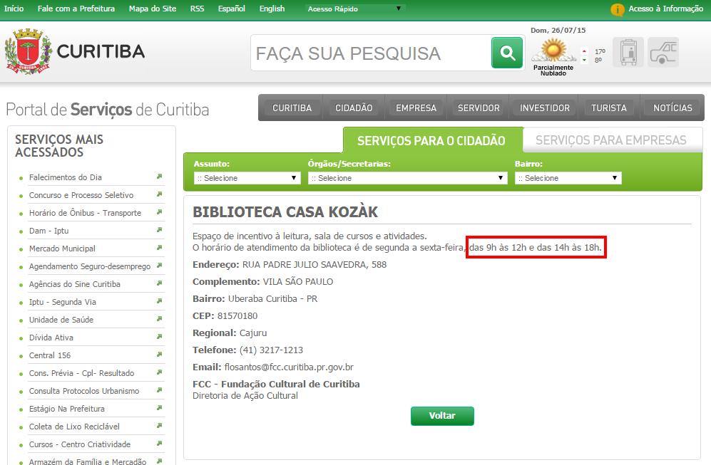 Print da página da Biblioteca Casa Kozák no site da prefeitura
