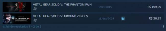 Preço do jogo Metal Gear Solid: The Phantom Pain