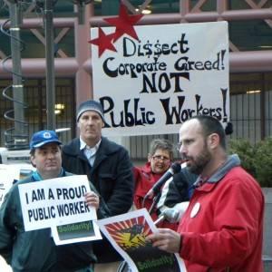 Funcionários públicos dos Estados Unidos protestando contra grandes corporações no Rali Pelo Sonho Americano