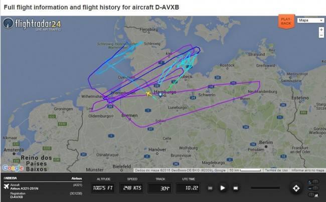 Resumo do primeiro voo do Airbus A321neo (Reprodução/Flightradar24.com)