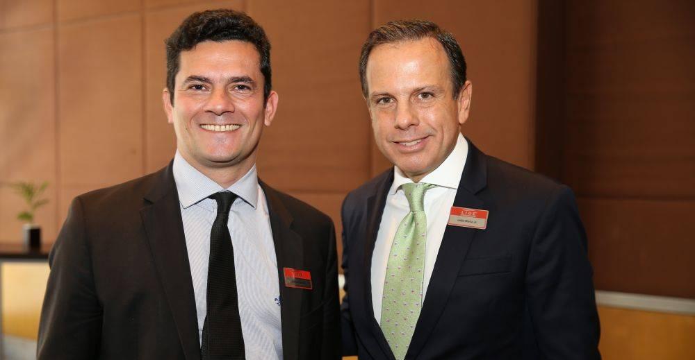O juiz Sergio Moro com o pré-candidato do PSDB à prefeitura de São Paulo João Doria Jr.     Foto: Fredy Uehara/Uehara Fotografia - assessoria de imprensa LIDE