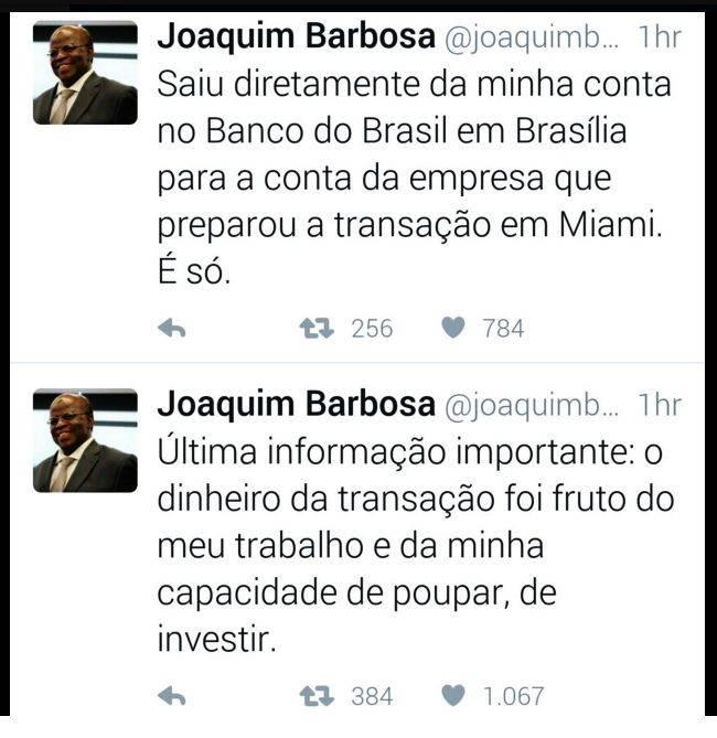 Explicações de Joaquim Barbosa no Twitter