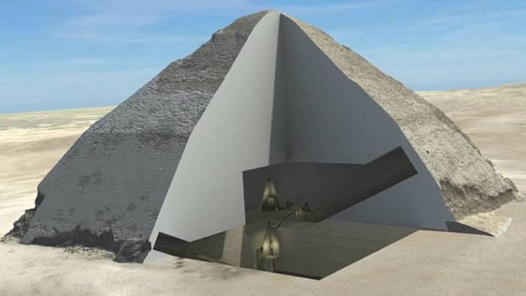 Reprodução gráfica mostra câmaras na Pirâmide Curvada, uma descoberta feita graças à análise tecnológica da construção. Imagem: Reprodução/Scan Pyramid