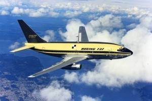 Primeiro voo do Boeing 737-100 em 9 de abril de 1967 (Foto: Divulgação/Boeing)