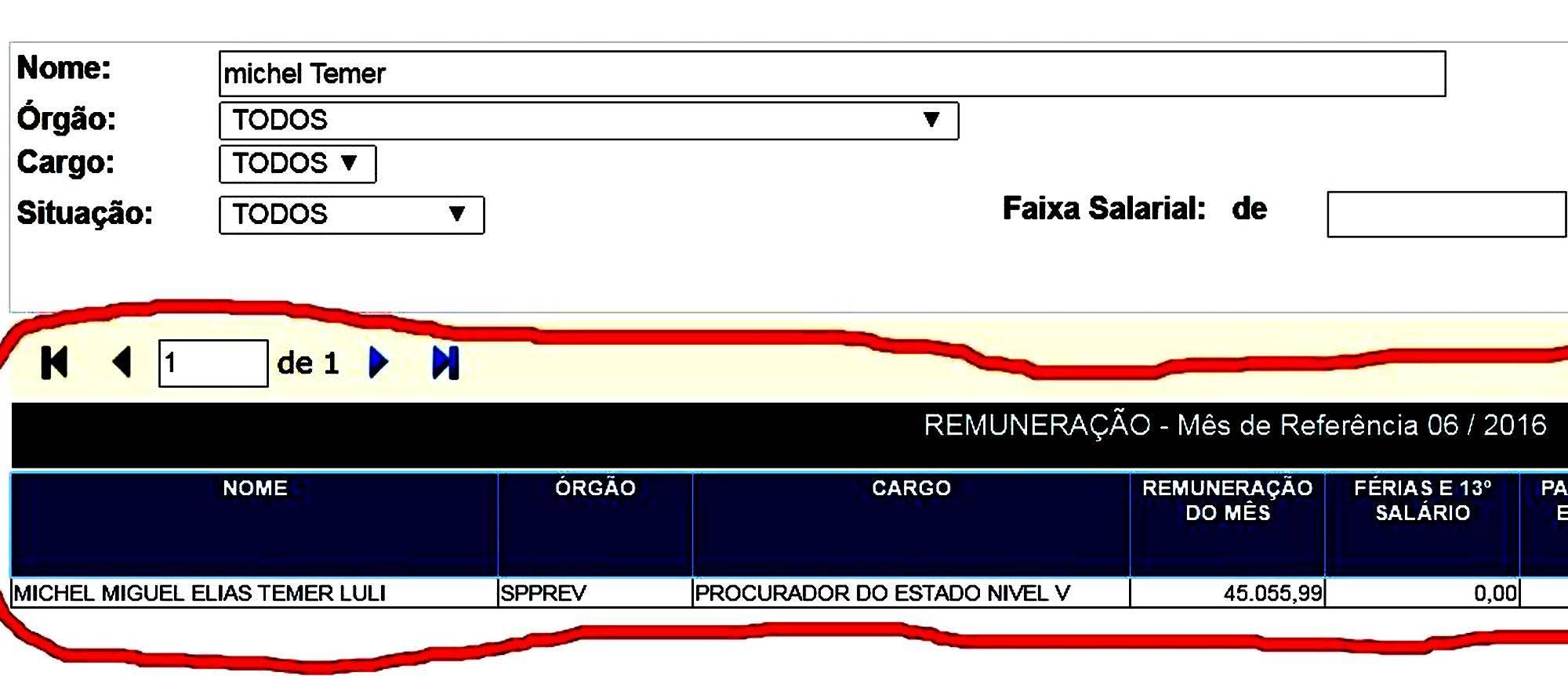 Extrato do Portal da Transparência, do governo do Estado de São Paulo