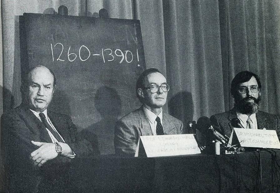 Coletiva para o anúncio dos resultados do teste de carbono-14 no Sudário, em 1988