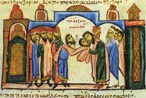 """Nesta iluminura da """"Crônica de João Scylitzes"""", os governantes muçulmanos de Edessa entregam a Imagem aos bizantinos após o cerco de 943 d.C. (Imagem: Reprodução)"""