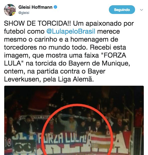Gleisi se confunde e vê apoio a Lula até em homenagem a torcedor de futebol italiano