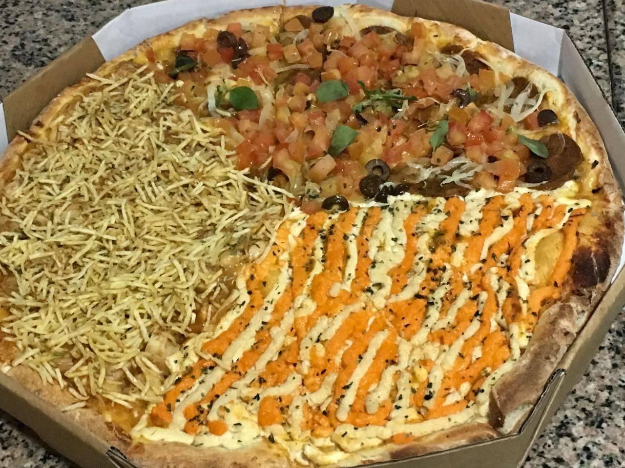 Pizza vegana de três sabores da Lupertine. Foto: Divulgação