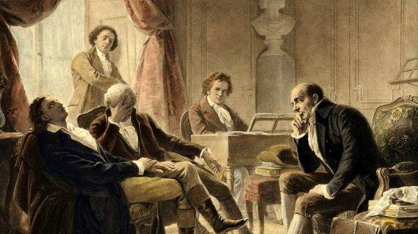 Beethoven ao piano. Pintura de Albert Gräfle (1809-1889)