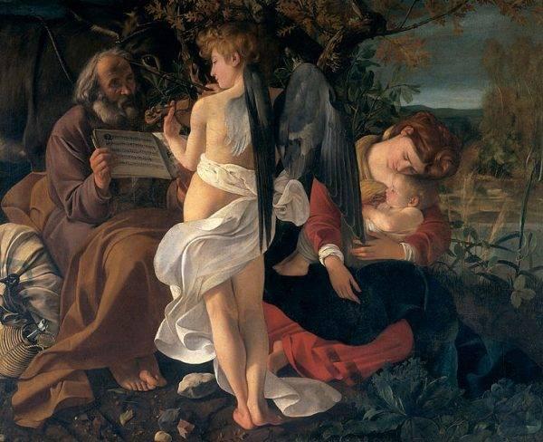 """""""O repouso na fuga para o Egito"""". Quadro de Caravaggio que se encontra na Galerai Doria Pamphilj em Roma"""