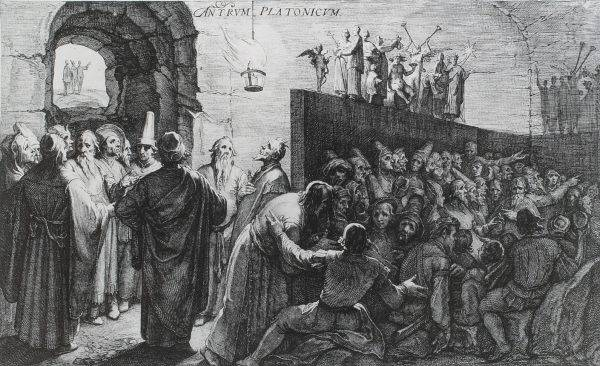 """""""Alegoria da Caverna de Platão"""", por Jan Saenredam, baseada em Cornelis van Haarlem (1604)."""