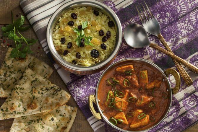 Paneer tikka masala (ricota assada em molho de tomate e masala) do Swadisht. Foto: Divulgação