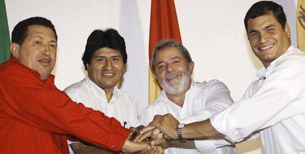Chávez, Evo Morales, Lula e Rafael Corrêa, em foto de 2008. Crédito: Ricardo Stuckert