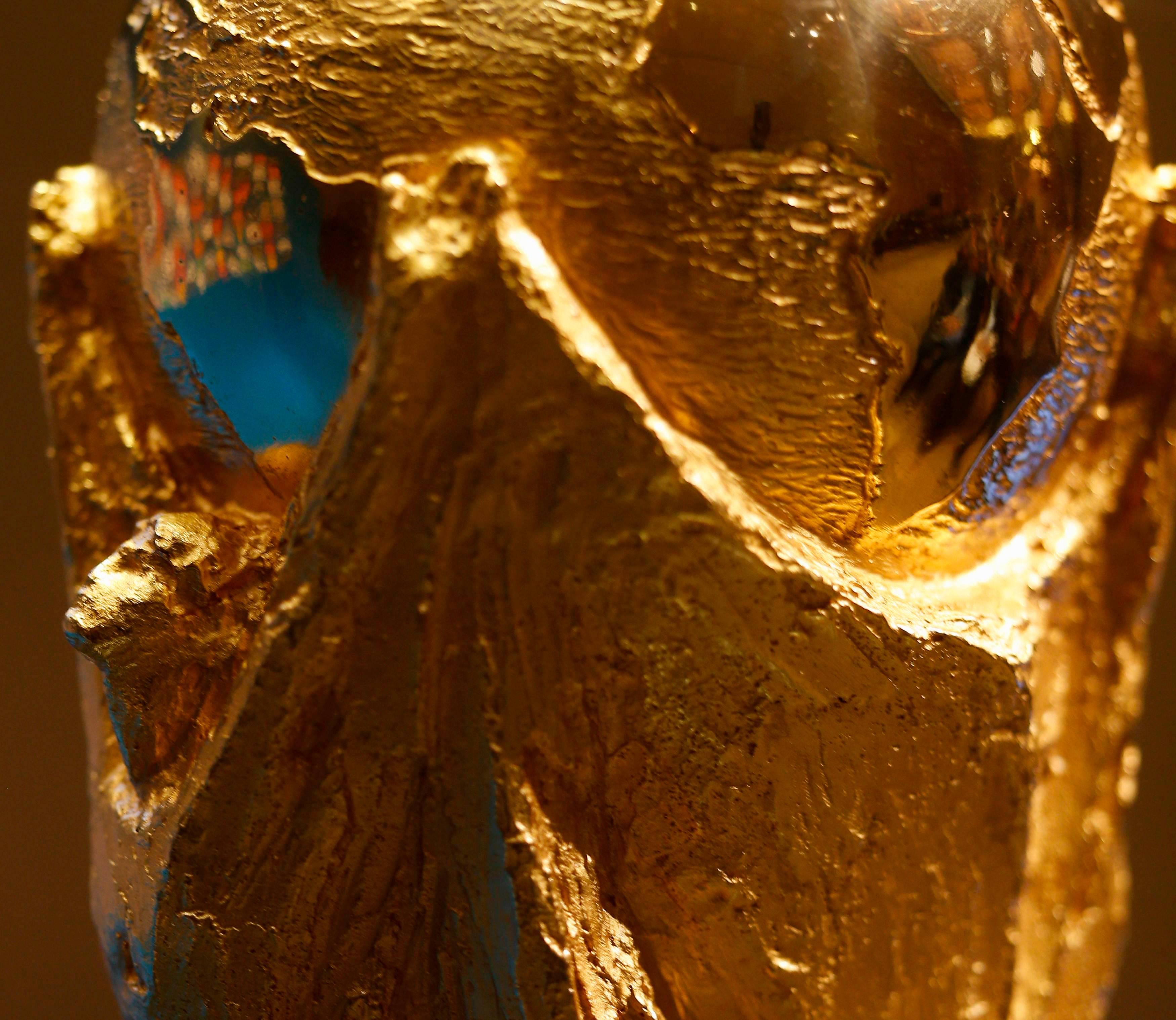 Detalhe do troféu da Copa do Mundo, a Taça Fifa.