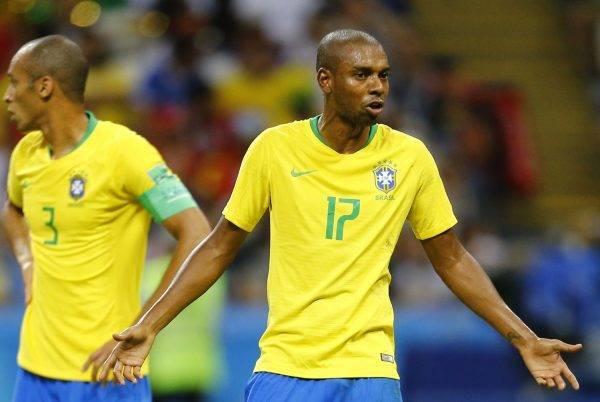 O volante Fernandinho durante as quartas de final contra a Bélgica. Crédito: Jonathan Campos - enviado especial/Gazeta do Povo