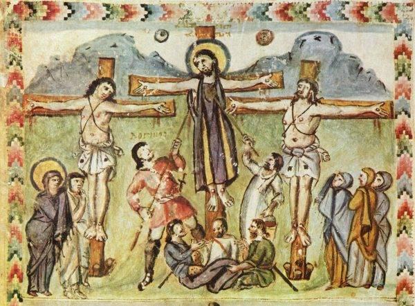 """Iluminura dos """"Evangelhos de Rabbula"""", do século 6.º. Se você acha que furar um corpo com uma lança pode ser comparado a espremer uma esponja num manequim de plástico, você precisa rever seus conceitos. (Imagem: Reprodução)"""