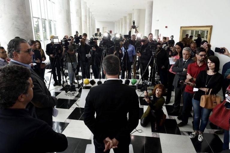 Coletiva de imprensa para o anúncio da intervenção nos pedágios (Foto: Denis Ferreira Netto/Gazeta do povo)