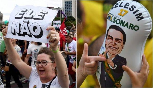 Manifestantes nos protestos contra e a favor de Bolsonaro: atos do último fim de semana antes do segundo turno deram recados para o PT e ao capitão da reserva.  Fotos: Evaristo Sá/AFP e Nelson Almeida/AFP