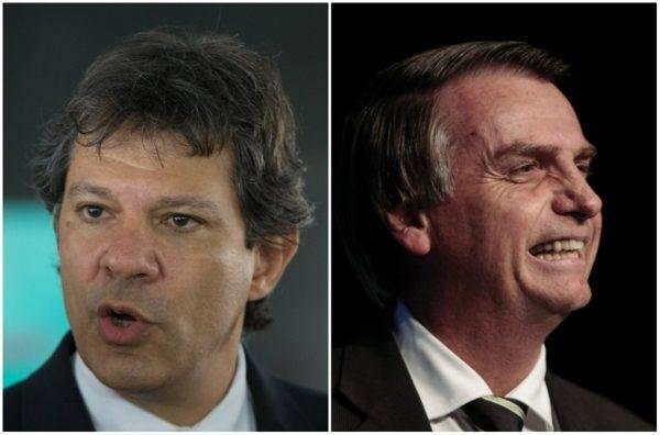 Foto: Haddad: Lula Marques/PT/ Bolsonaro: Miguel Schincariol/AFP.