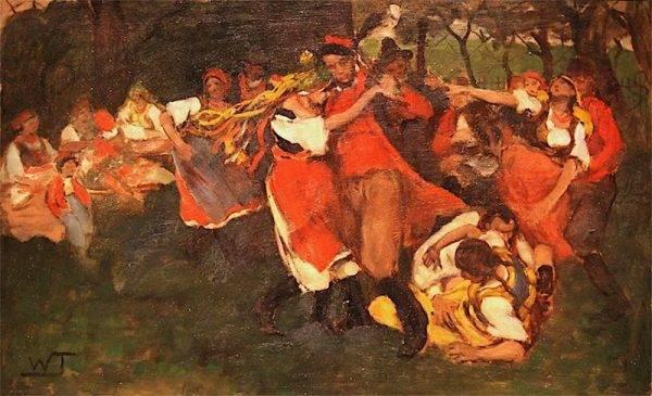 Krakowiak, a tradicional dança poçonesa, em pintura de Włodzimierz Tetmajer