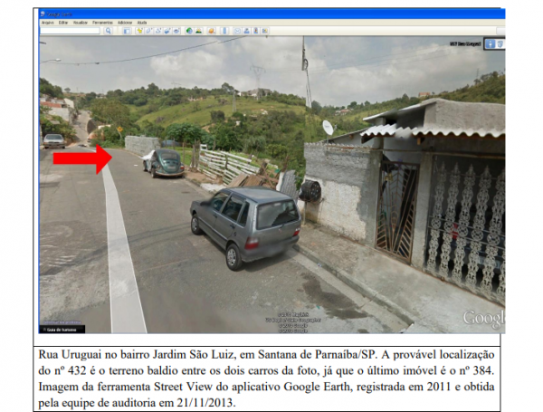 Auditores da CGU afirmaram que o endereço registrado pela Telemídia & Technology International, na Rua Uruguai, em Santana de Parnaíba (SP), seria falso: a provável localização do nº 432 é o terreno baldio entre os dois carros da foto, diz relatório. Foto: Reprodução/CGU
