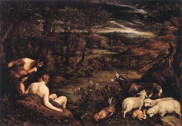 O Jardim do Éden na visão de Jacopo Bassano: o homem é fruto do amor de Deus, ao contrário do que ocorre nas mitologias do Oriente Médio. (Imagem: Reprodução)