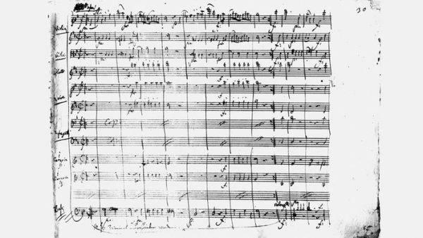 Manuscrito do IV movimento de uma rara sinfonia em modo menor do  período clássico, a Sinfonia 40 de Mozart