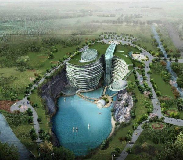 Chineses constroem hotel de luxo dentro de uma cratera