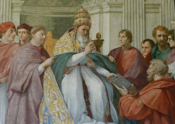 No afresco de Giulio Romano nos Museus Vaticanos, Gregório IX está aprovando as Decretais, em vez de ordenar o extermínio de todos os gatos da Europa. (Imagem: Reprodução)