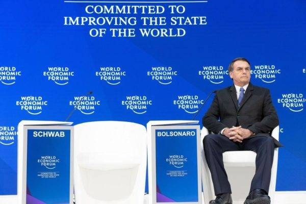 Jair Bolsonaro, presidente do Brasil durante seu discurso na Reunião Anual de 2019 do Fórum Econômico Mundial em Davos, 22 de janeiro de 2018. Foto: Christian Clavadetscher