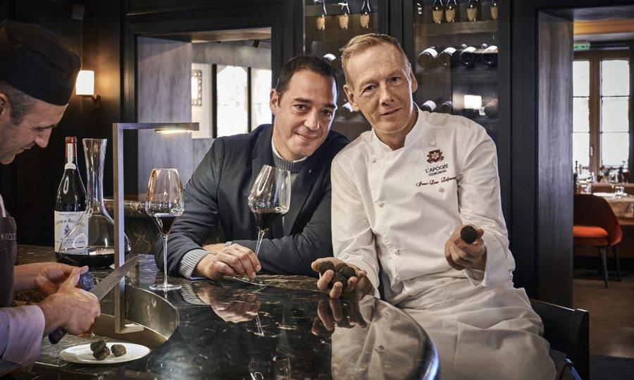O Head Chef Jean-Luc Lefrançois e o Chef Sommelier Géraud Tournier, um dos mestres de trufas da região. (Crédito: divulgação).