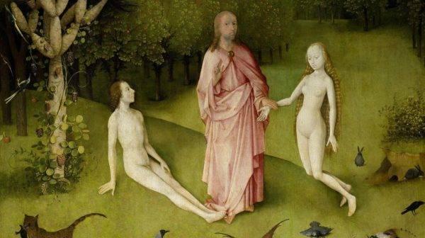 """A criação do homem e da mulher no tríptico """"O jardim das delícias terrenas"""", de Bosch: a Bíblia nos diz que Deus criou o homem, mas não diz a forma exata como fomos criados. (Imagem: Reprodução)"""