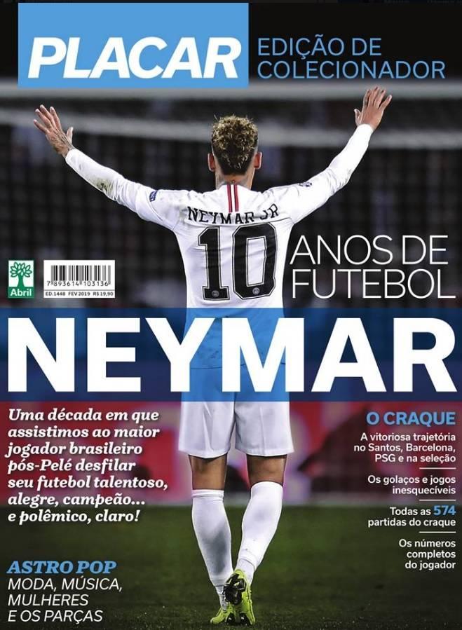 A capa de Placar: Neymar como o melhor jogador brasileiro depois que Pelé parou de jogar, segundo a revista