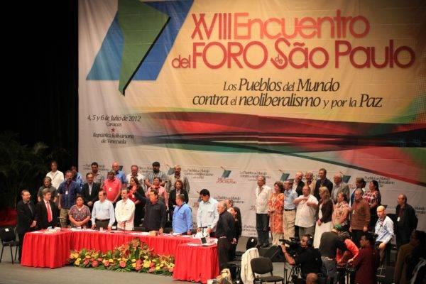 XVIII Encontro do Foro de São Paulo, em 2012. Cancillería Ecuador/Wikimedia Commons