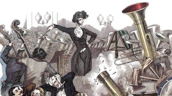 Gravura vienense de 1846 descrevendo os excessos de Hector Berlioz