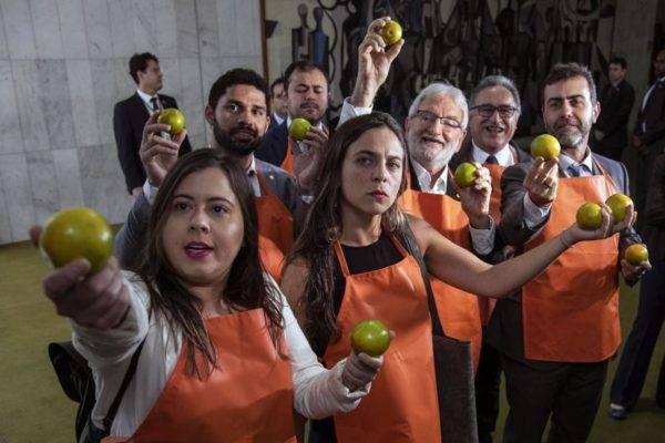 Protestos do PSOL na Câmara dos Deputados contra candidaturas laranja do PSL: partido é o mais orgânico da Câmara. Foto: Sérgio Lima/AFP