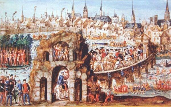 Na entrada real de Henrique II em Rouen, 1 de outubro de 1550, homens nus ilustram a vida no Brasil e uma batalha entre os Tupinambás aliados dos franceses e os Tabajaras. Autor anônimo