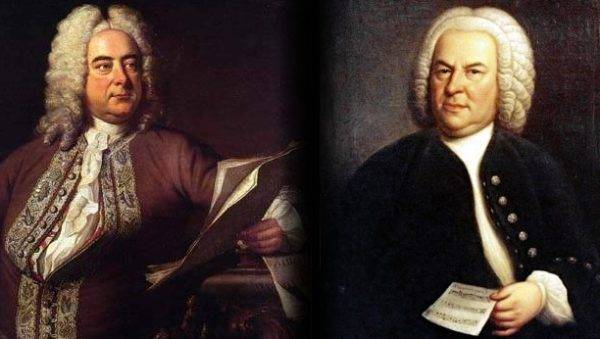 Montagem com os retratos de Händel e Bach